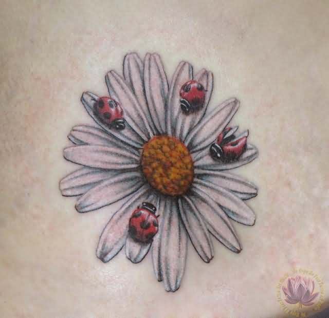 Ladybugs On Daisy Flower Tattoo