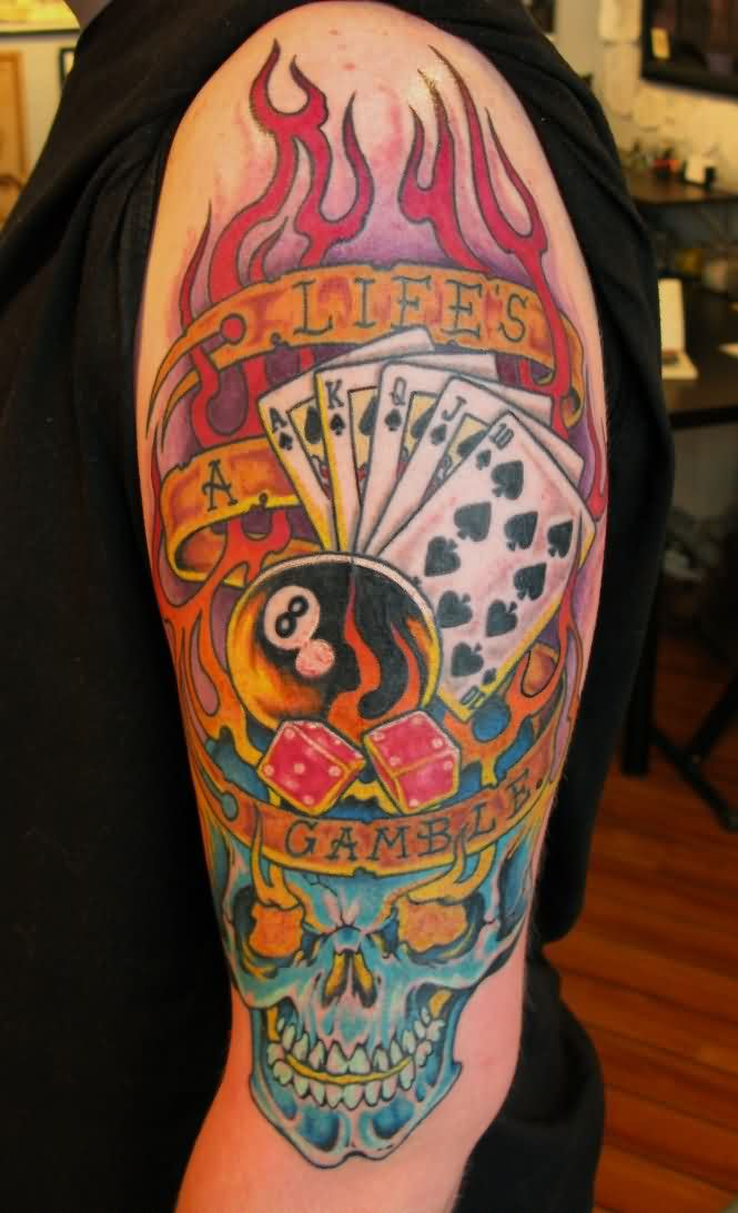 Colorful gambling tattoos on right arm for guys