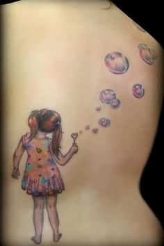 Little Girl Tattoo On Back