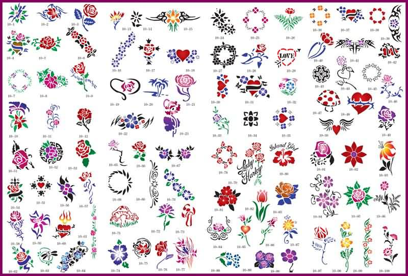 Lots Of Heart And Rose Tattoo Designs