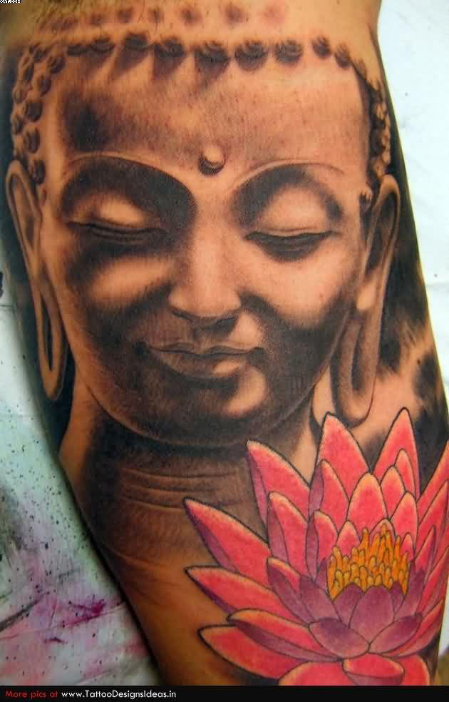 Lotus Flower And Buddha Tattoo