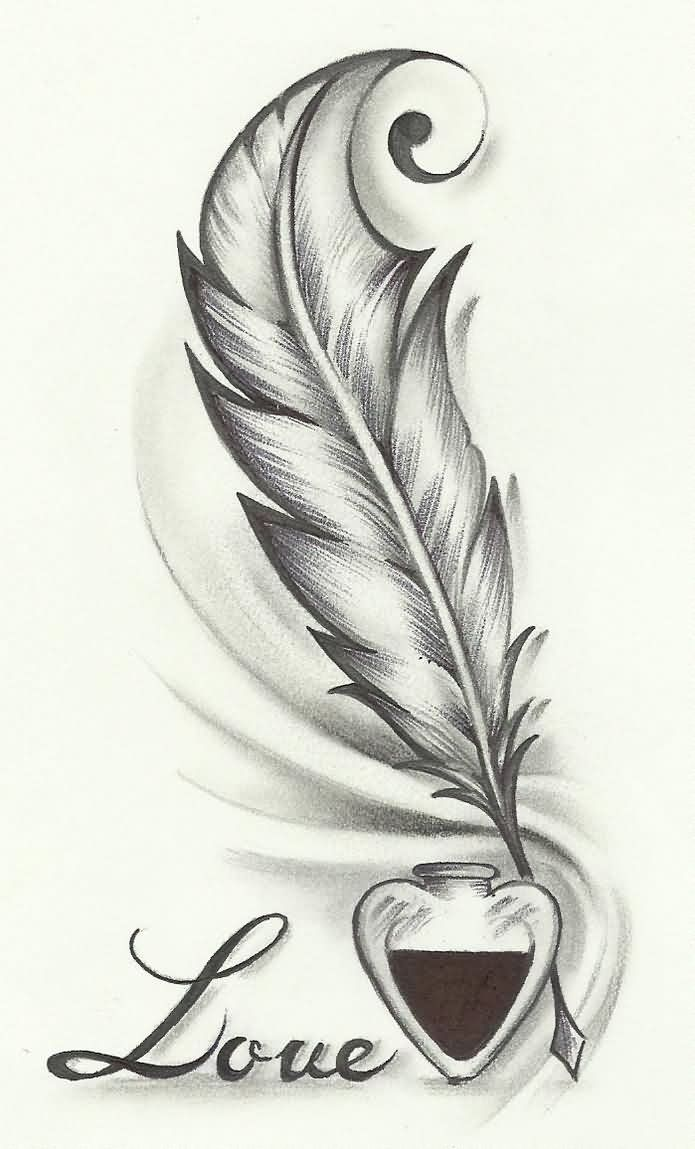 Love Feather Tattoo Drawing