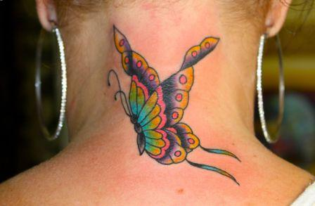 Lovely Butterfly Tattoo On Back Of Neck