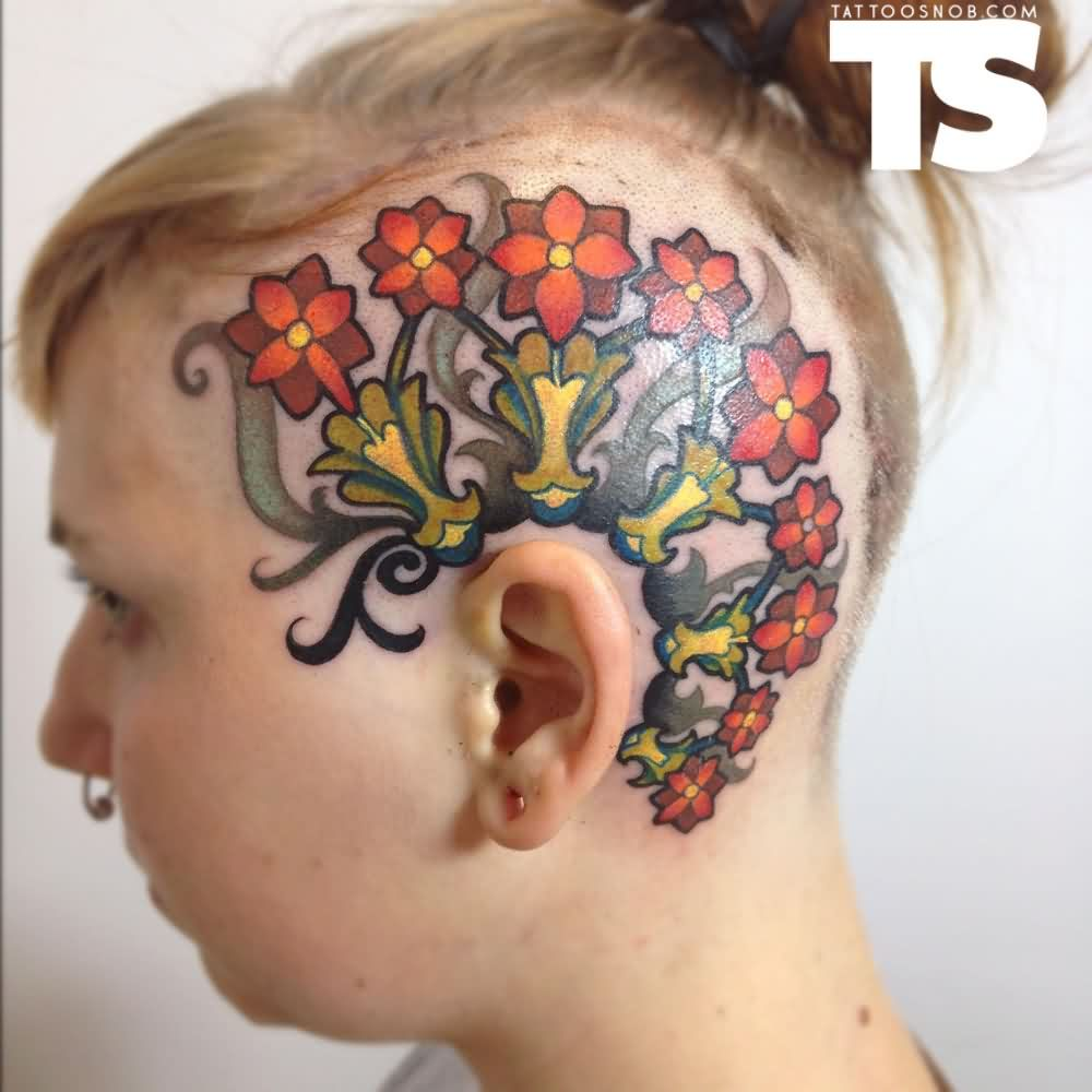Lovely Head Tattoos For Women