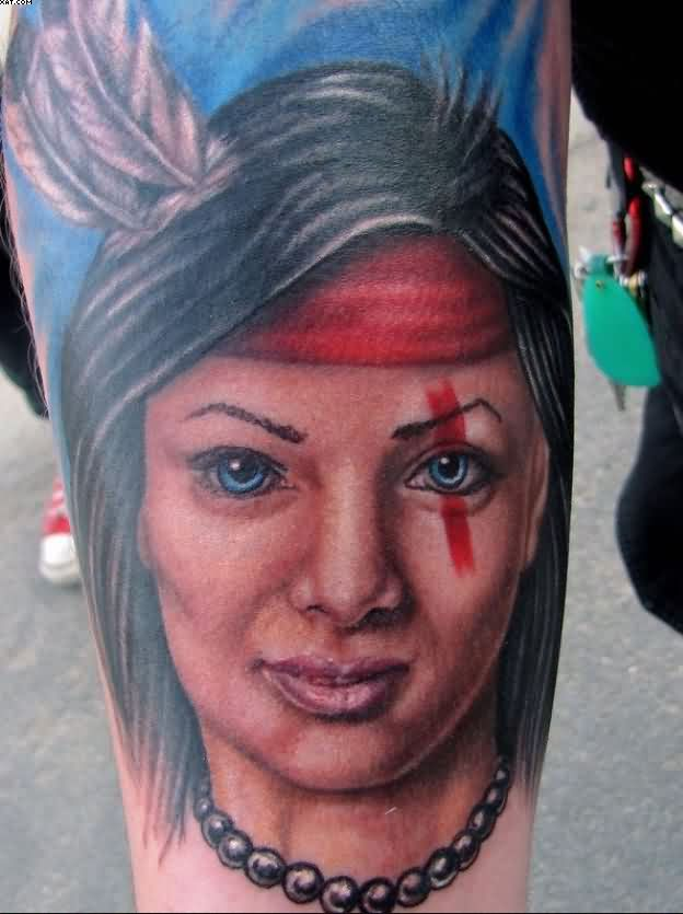Lovely Indian Portrait Tattoo
