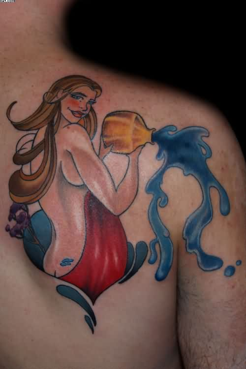 Lovely Water Bearer Aquarius Tattoo On Back Shoulder