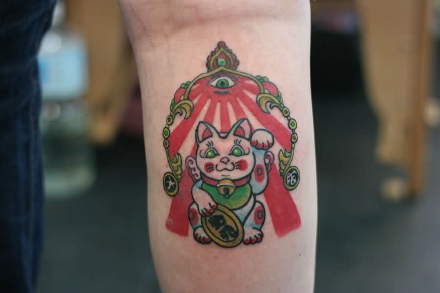 Lucky Cat Tattoo For Your Arm