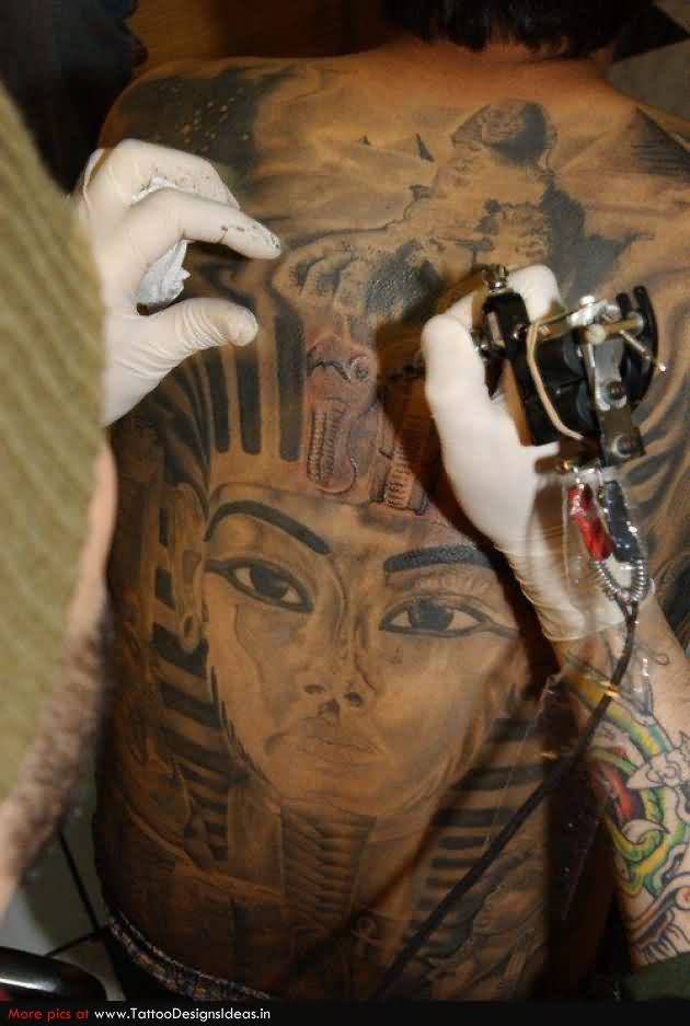 Making Egyptian Tattoo On Back