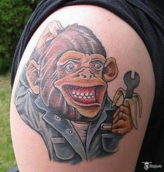 Mechanic Monkey With Wrench Tattoo On Shoulder