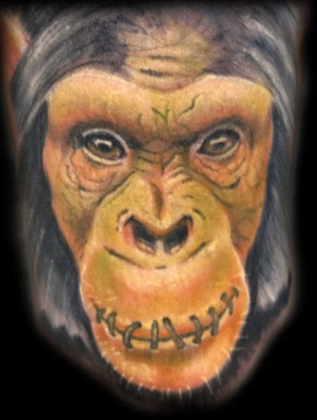 Monkey Face Close Up Tattoo Design