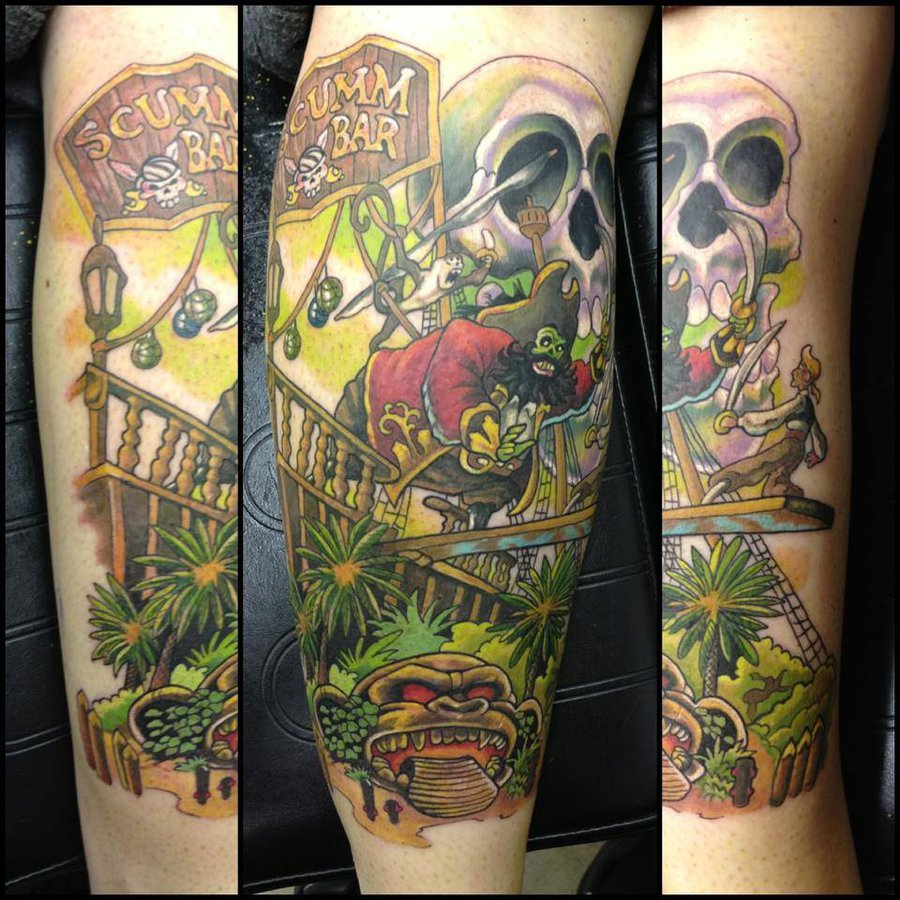 Monkey Island Sleeve Tattoo Design