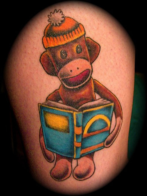 Monkey Reading Book Tattoo Design