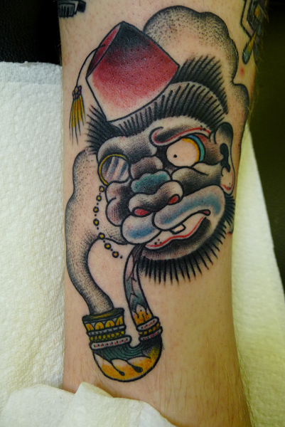 Monkey Smoking Tattoo Design