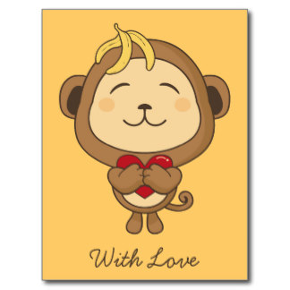 Monkey With Love Tattoo Postcard