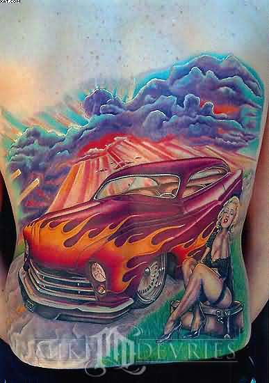 Monroe Car Tattoo On Back