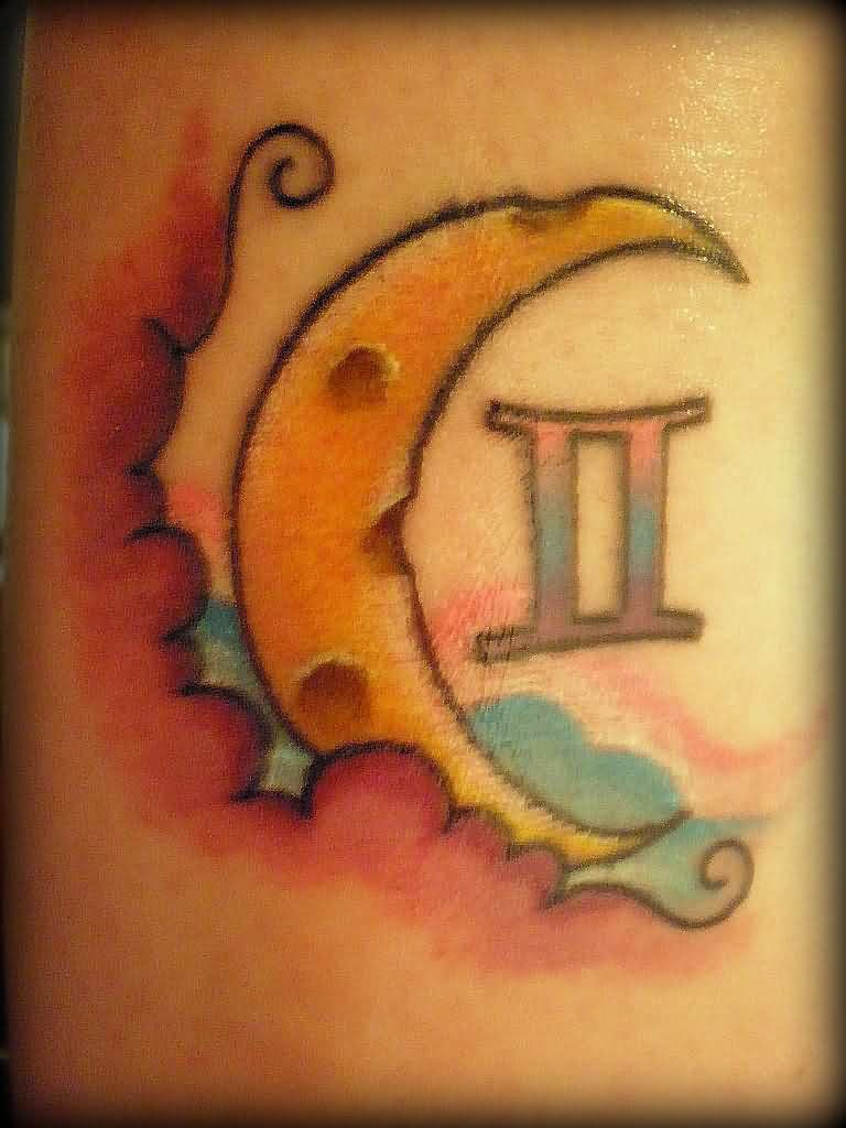 Moon And Gemini Zodiac Tattoo