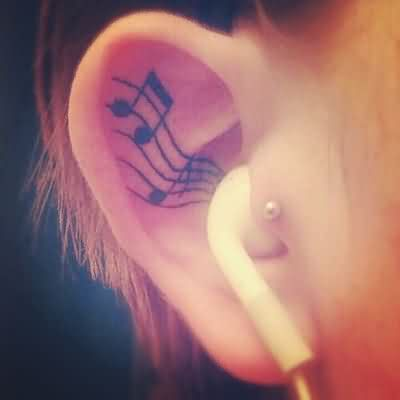 Music Notes Tattoos Inside Ear