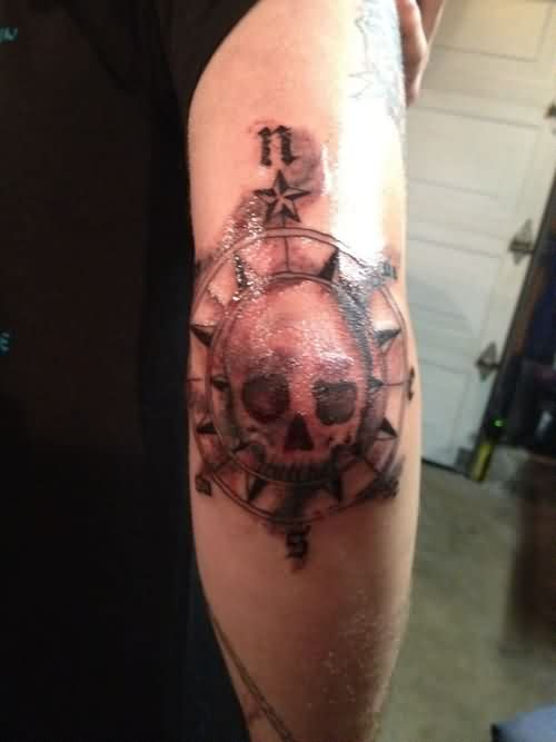 Navy Compass Elbow Tattoo