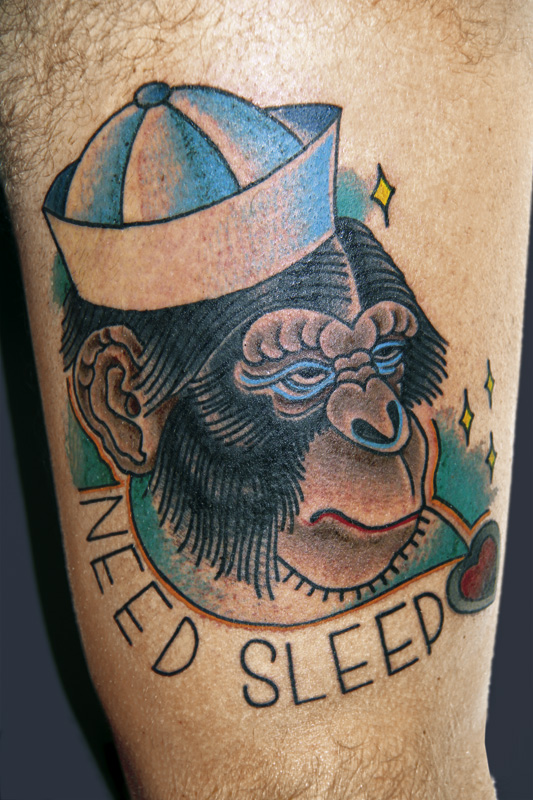 Need Sleep Monkey Tattoo Design