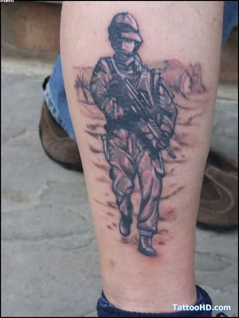 Nice Army Tattoo On Leg