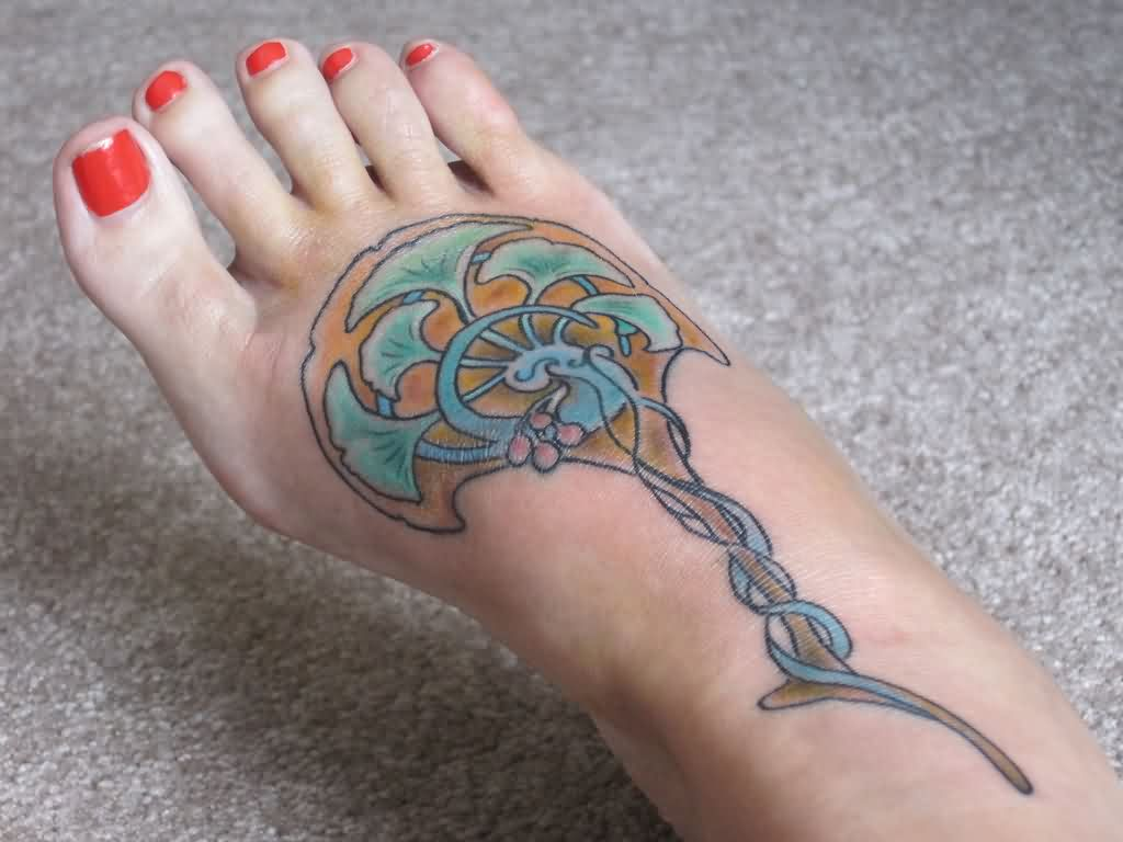 Nice Foot Tattoo For Girls