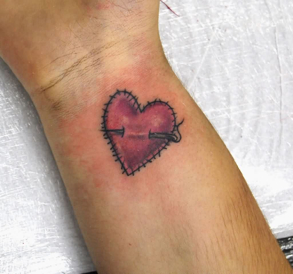 Nice Heart Tattoo On Wrist