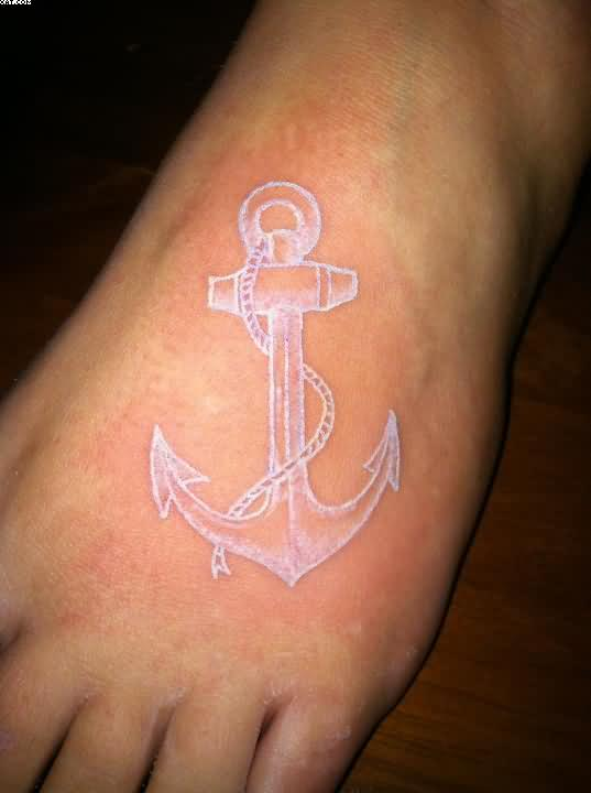 Nice White Ink Anchor Tattoo On Foot