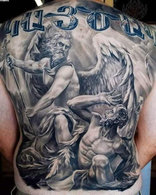 Old Angels Tattoo On Back