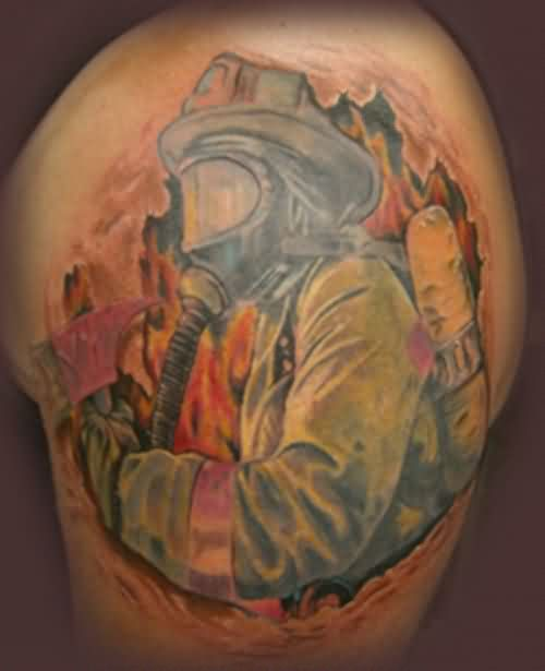 Outstanding Firefighter Tattoo On Shoulder