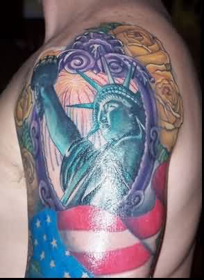 Patriotic Flag Tattoo On Half Sleeve