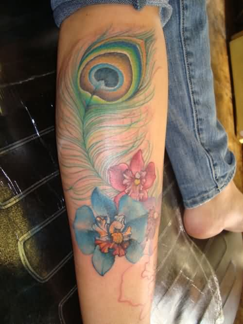 Peacock Feather And Flowers Tattoos On Leg