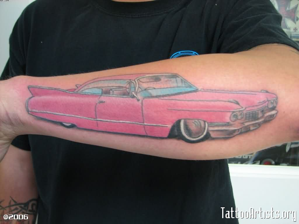 Pink Car Tattoo On Forearm