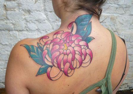 Pink Chrysanthemum Tattoo On Back Shoulder