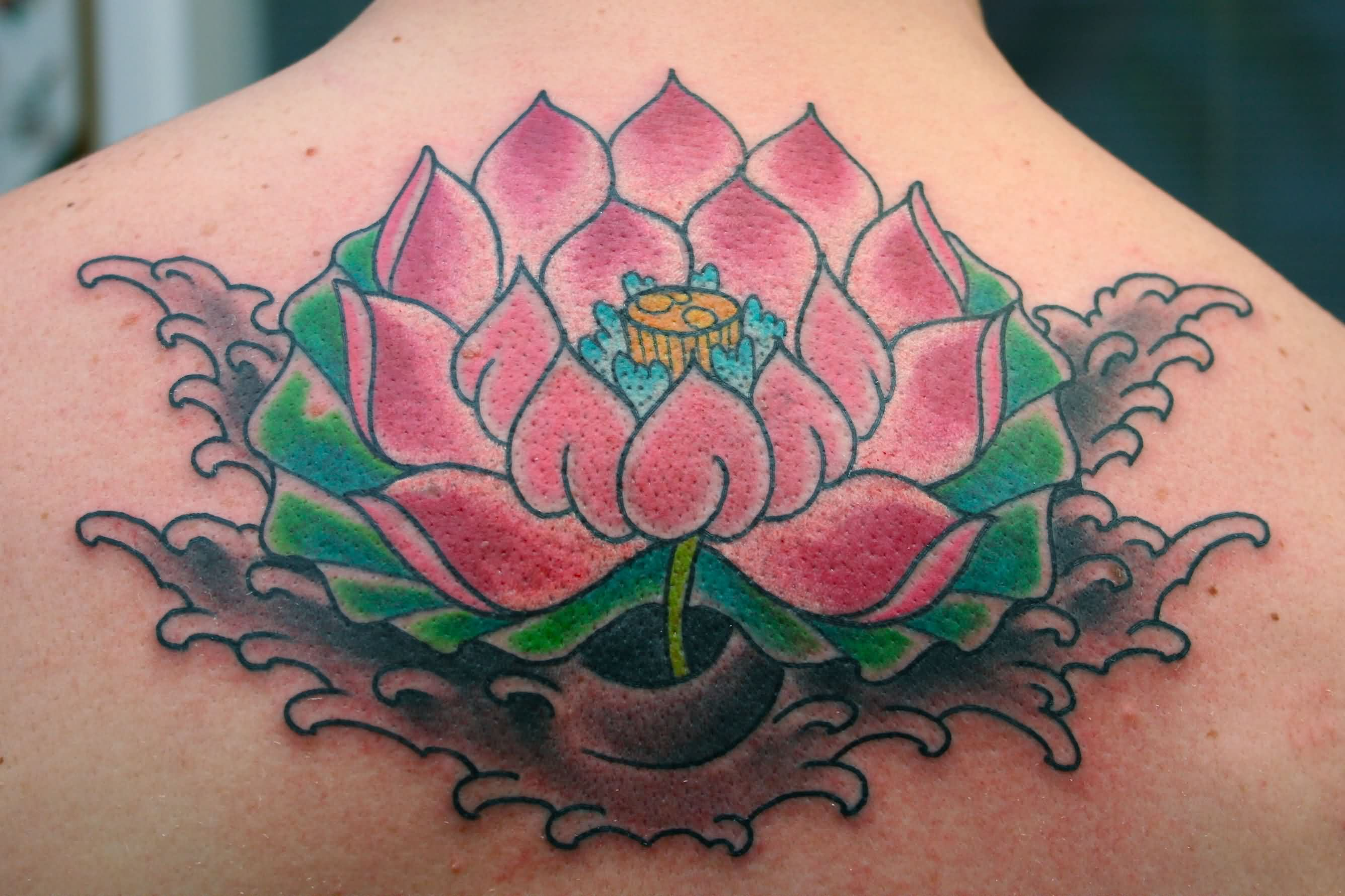 Pink Lotus Tattoo On Upper Back