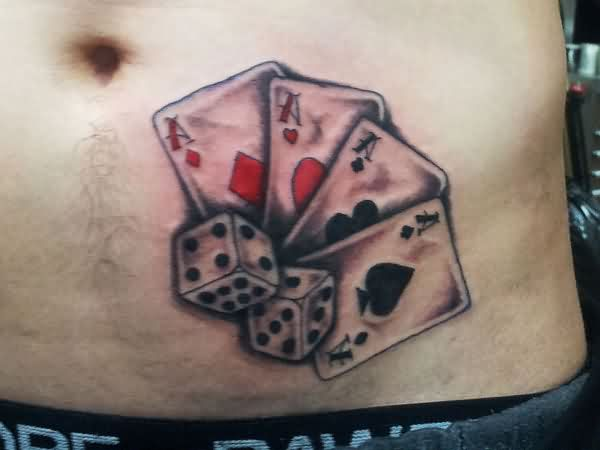 Playing Cards And Dice Tattoos On Belly