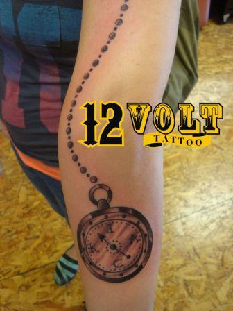 Pocket Watch Compass Tattoo On Arm