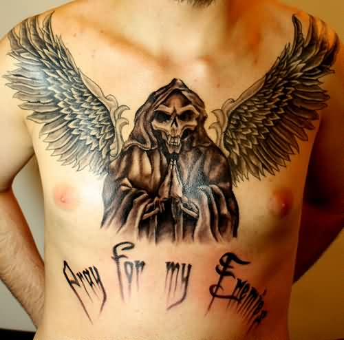 Praying Angel Of Death Tattoo On Chest