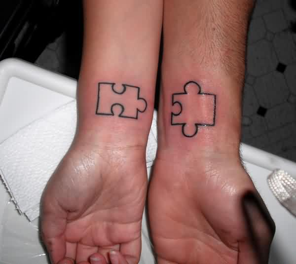 Puzzle Outline Couple Tattoos On Wrist