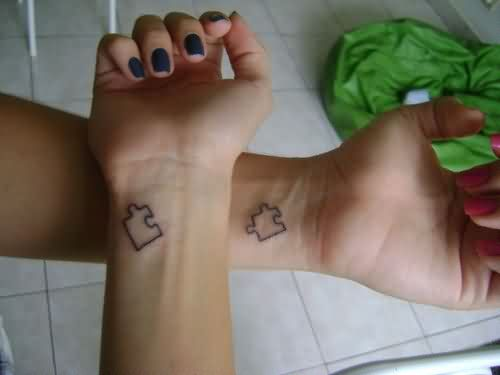 Puzzle Outline Friendship Tattoos On Wrist