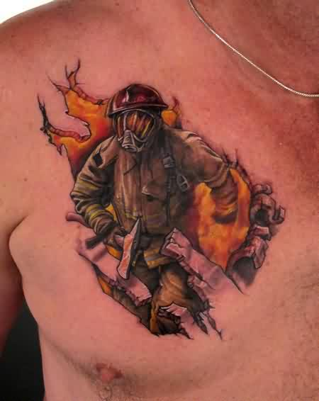 Rare Firefighter Tattoo On Chest