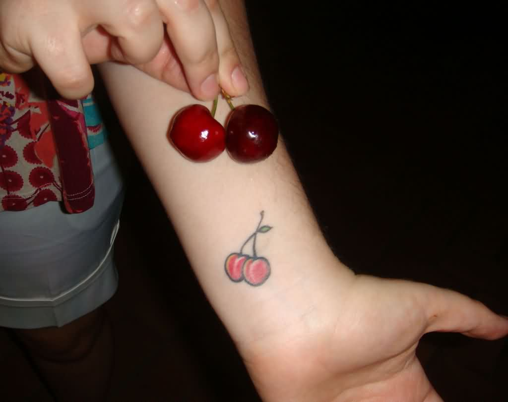 Real Cherries And Small Cherry Tattoos