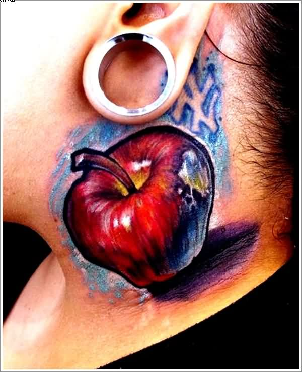 Realistic Apple Tattoo On Neck