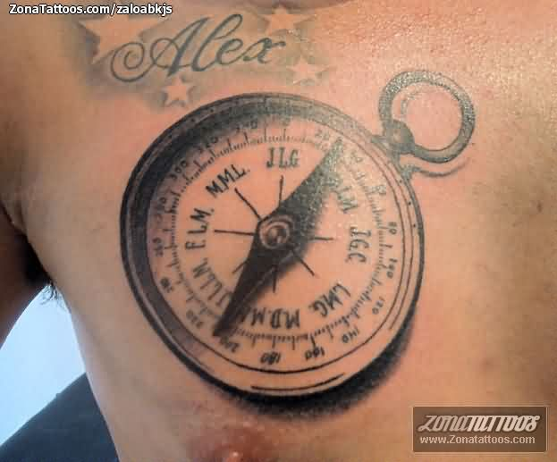 Realistic Compass Tattoo On Chest