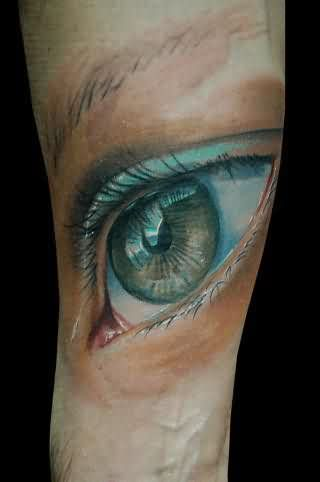 Realistic Eye Tattoo On Arm
