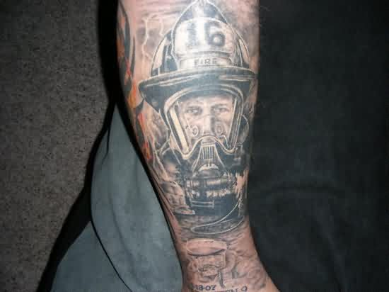 Realistic Firefighter Tattoo