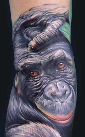 Realistic Monkey Tattoo On Sleeve