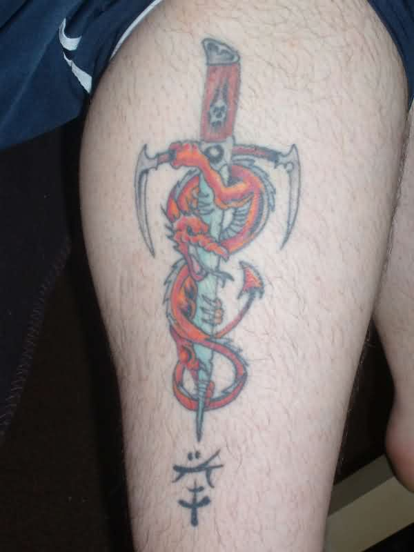 Red Dragon With Dagger Tattoo