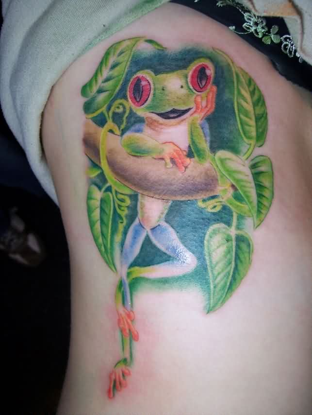 Red Eyed Tree Frog With Vine Tattoo On Ribs