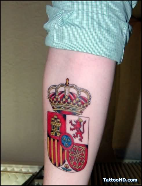 Red Family Crest Tattoo On Arm