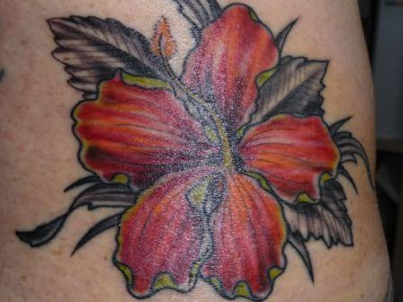 Red Ink Hibiscus Tattoo